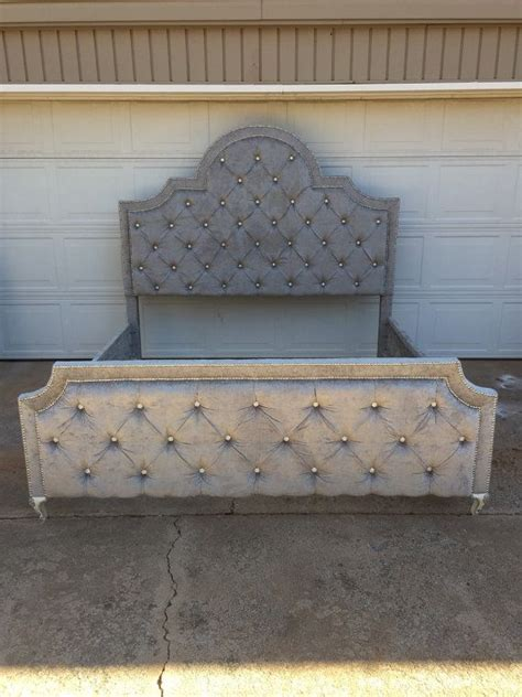tufted king bed velvet royal rhinestone button