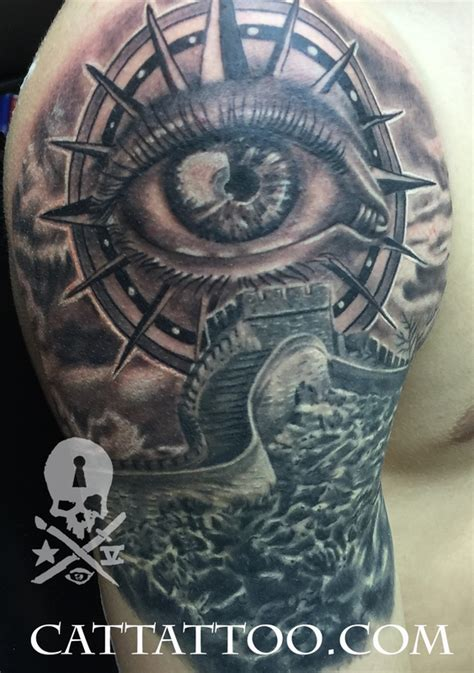 compass eye tattoo meaning great wall and compass eye by terry mayo tattoos