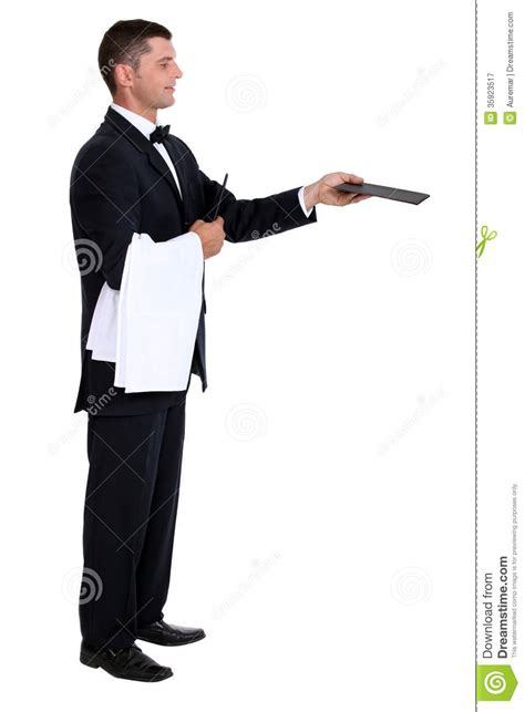 waiter holding out menu royalty free stock