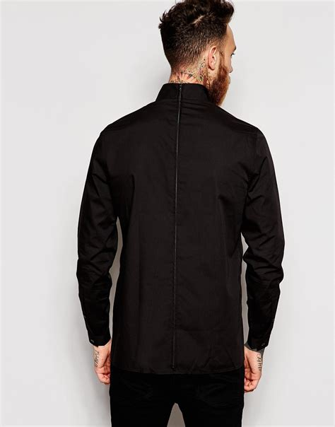 Black Zip Line Shitr lyst asos shirt with back zip and funnel collar in black for