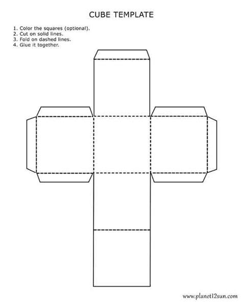 Printable 3d Cube Template Color It Cut It Out Fold It And Glue It Together Worksheets 3d Print Templates Free
