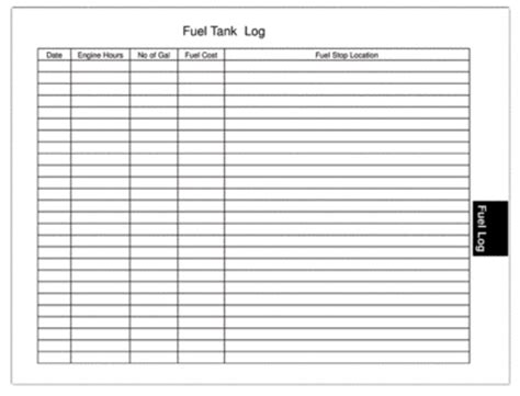 Gas Receipt Log Template by Captains Log Fuel Data