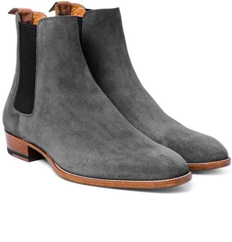handmade s gray chelsea boots bray suede leather