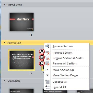 learn powerpoint 2010 for windows removing sections
