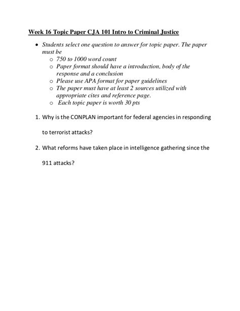 Easy Research Paper Topics For 101 by Topic Paper Week 16 Cja 101 Intro To Criminal Justice