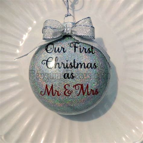 personalized our first christmas married glitter ornament