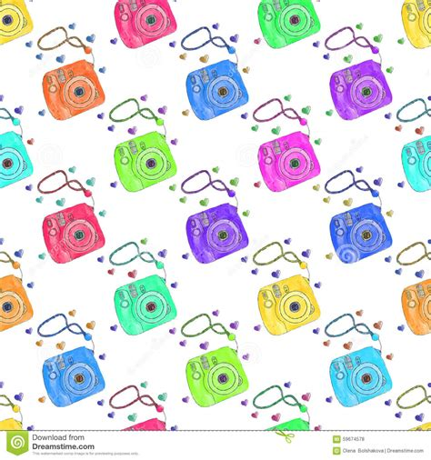 pattern background camera mini instant camera cartoon vector cartoondealer com