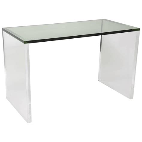 Clear Plastic Desk by Two Toned Acrylic Desk In Green And Clear For Sale At 1stdibs