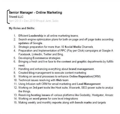 digital marketing resume sle pdf digital marketing expert resume pdf free sles