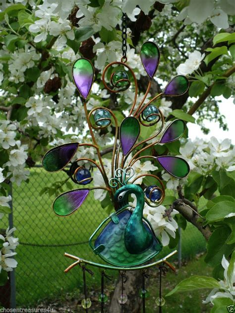 peacock iron and painted glass wind chime garden yard