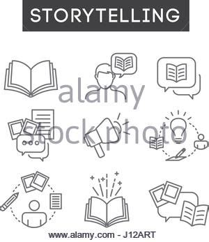 speaking savvy the of speaking and storytelling books storytelling icon set with speech bubbles and books stock