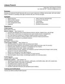 forklift operator resume sle best template collection