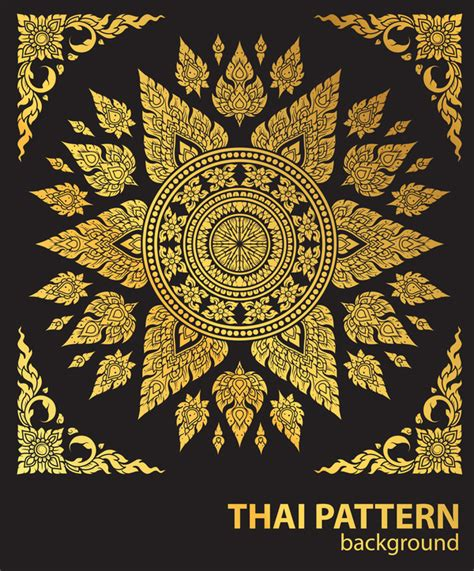 pattern english to thai line thai gold pattern vector material vector pattern