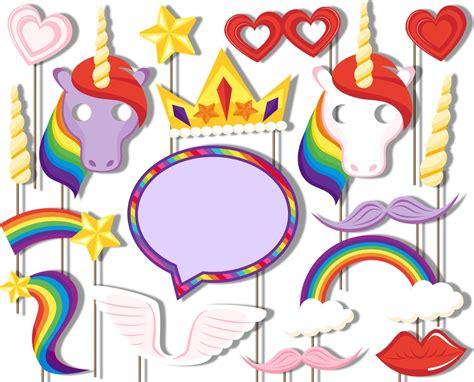 rainbow photo booth props printable unicorn stick photo props birthday wikii