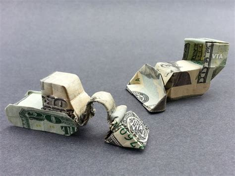 Origami Construction - bulldozer dollar origami construction vehicle made of