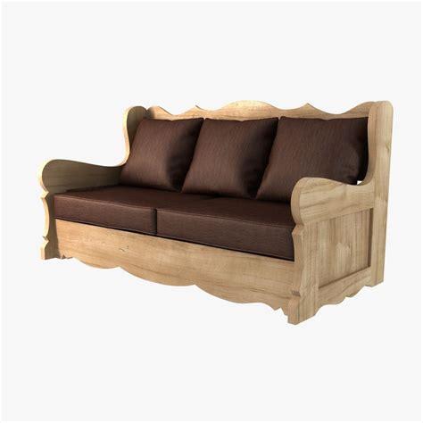wooden sofa models wood sofa provence village style 3d model max obj 3ds