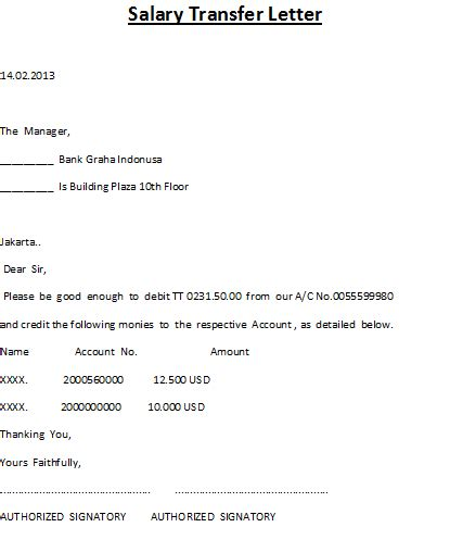 Employee Salary Transfer Letter To Bank Sle december 2012