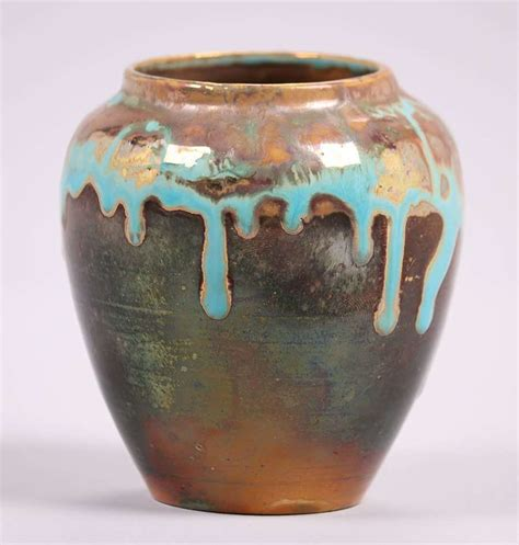 julius copper drip ceramic l pewabic pottery iridescent blue drip glaze vase