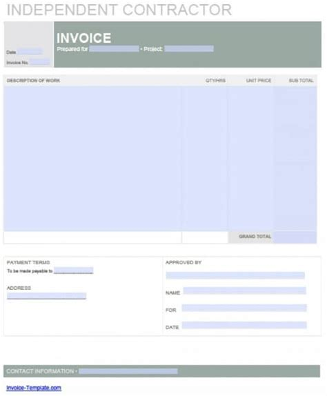 Contract Invoice Template Hardhost Info 1099 Contractor Invoice Template