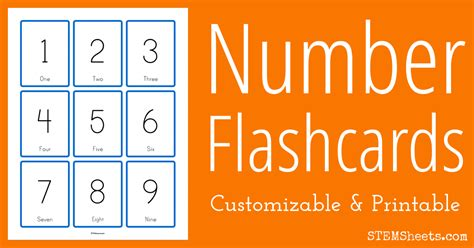 Flash Card Numbers 30 99 Template by Customizable Number Flashcards Stem Sheets