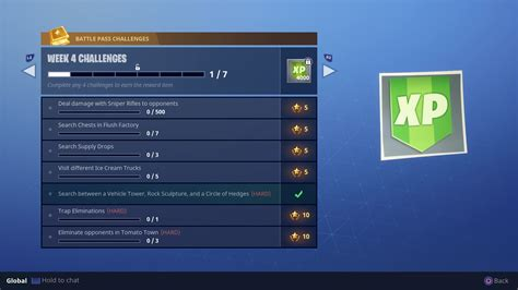 how fortnite xp works where to search between vehicle tower rock sculpture and