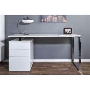 bureau design blanc laque avec rangement compact