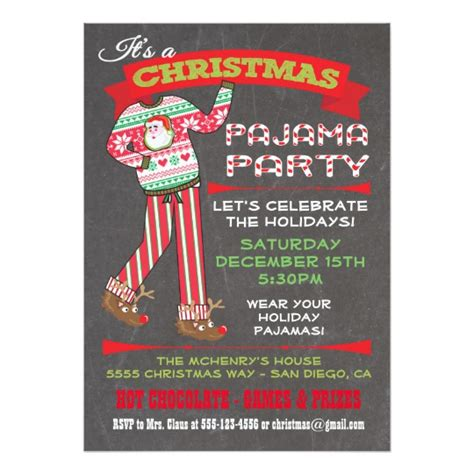 free christmas pj invitation chalkboard pajama invitations zazzle