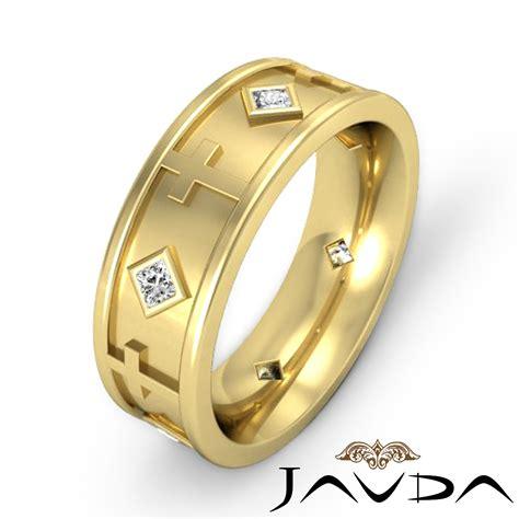 princess diamond mens ring  yellow gold cross eternity