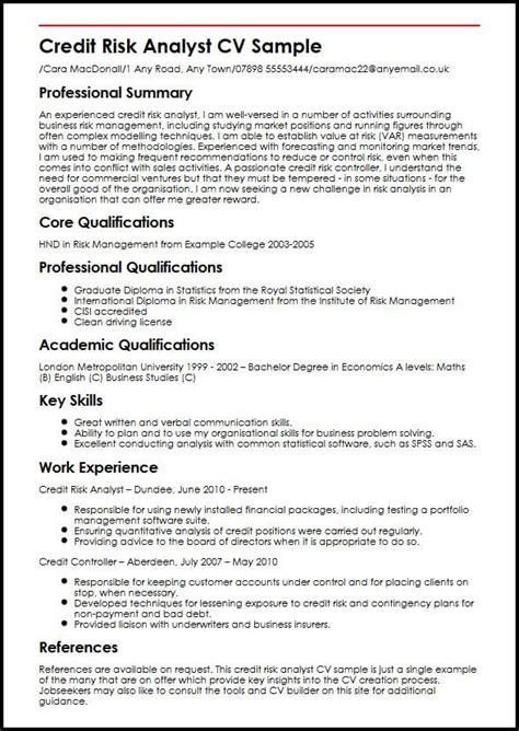 Risk Management Resume by Credit Risk Analyst Cv Sle Myperfectcv