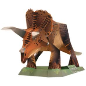 Science Triceratops Miniature Papercraft Dinosaur Papercraft Simply Print Out Some Pages Follow