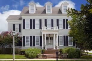 light grey house black shutters white trim paint front