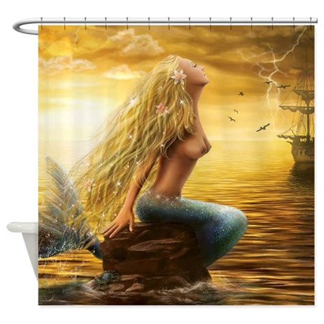 golden mermaid shower curtain  goldenmermaid