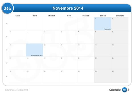 Calendrier 4 Novembre 2014 Calendrier Novembre 2014