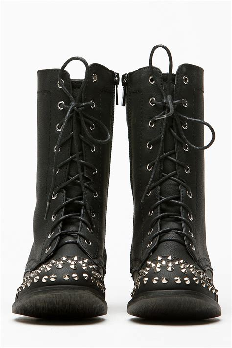 Bambus Bad 1168 by Bamboo Spiked Studded Black Combat Boots Cicihot Boots