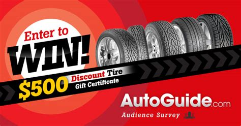 Discount Tire Gift Card - win a 500 discount tire gift card for completing the autoguide j d power survey