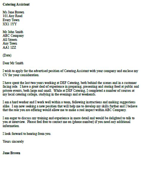 Cover Letter For Catering by Catering Assistant Cover Letter Exle Icover Org Uk