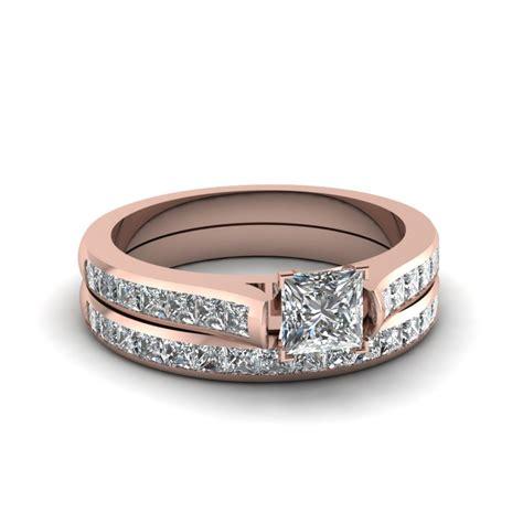 princess cut channel set wedding ring sets in 18k