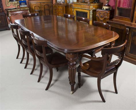 antique victorian mahogany dining table  regency chairs