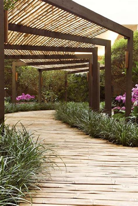 Backyard Landscape Structures Walkway Covered Modern Trellis Infrastructure Design