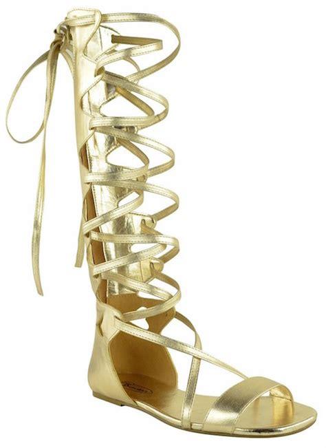 sepatukubaru fara flatshoes gold fashion thirsty womens knee high gladiator sandals flat