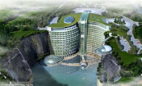 Crown Hall Floor Plan by Chinese Hotel Being Built Inside Quarry 100 Yards Beneath