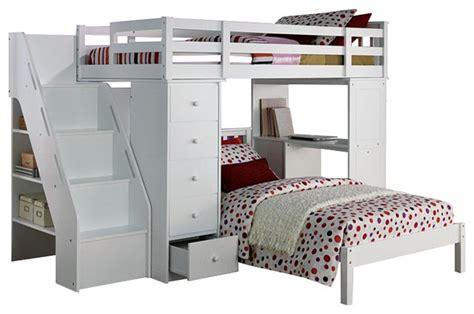 megan collection twin size loft bed desk chest
