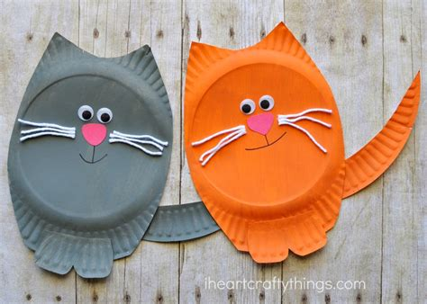 Cat Paper Craft - paper plate cat craft i crafty things
