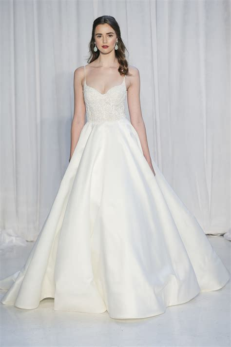 barge spaghetti lace and satin a line wedding