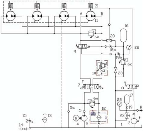 schematic diagram of the hydraulic drive and