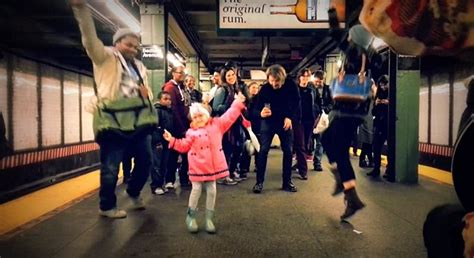 all the girls waiting in line for the bathroom little girl starts a hoedown on a new york subway platform