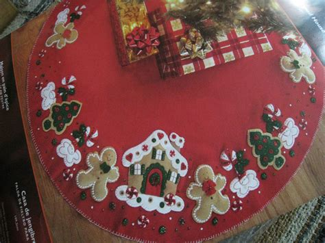 christmas bucilla felt applique tree skirt kit gingerbread