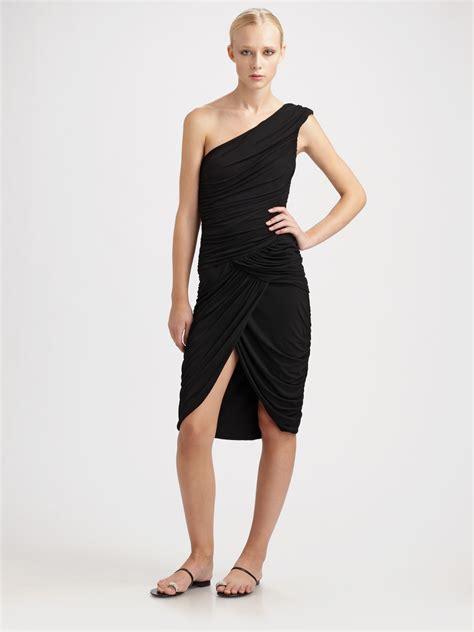 Draped Goddess Dress michael kors matte jersey draped goddess dress in black lyst
