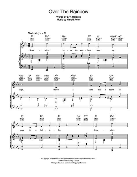 tutorial piano over the rainbow over the rainbow from the wizard of oz sheet music by