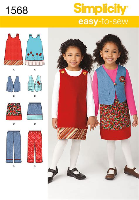 simplicity pattern website simplicity 1568 child s jumper vest pants and skirt